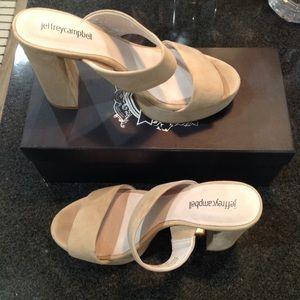 Nude suede sandals